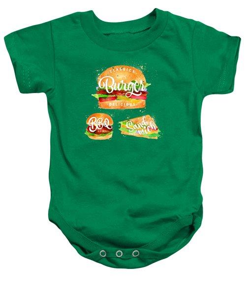 Vintage Burger Baby Onesie by Aloke Creative Store