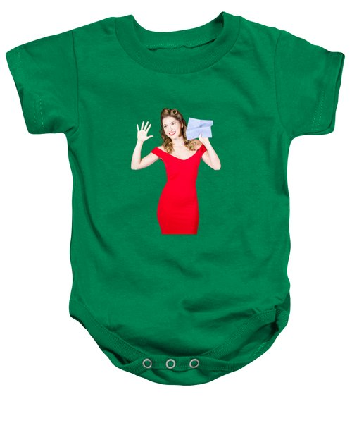 Baby Onesie featuring the photograph Window Wash Pinup Girl Wiping Clean Copyspace by Jorgo Photography - Wall Art Gallery