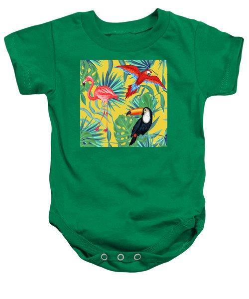 Yellow Tropic  Baby Onesie