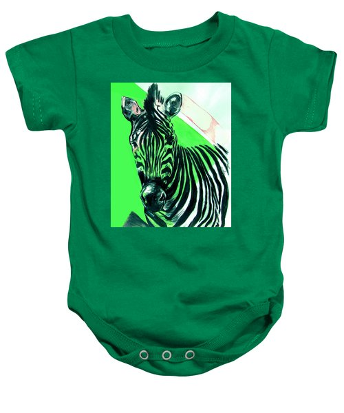 Zebra In Green Baby Onesie