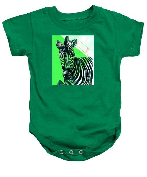 Zebra In Green Baby Onesie