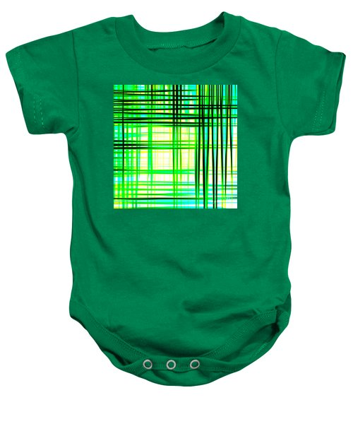 Abstract Design With Lines Squares In Green Color Waves - Pl409 Baby Onesie