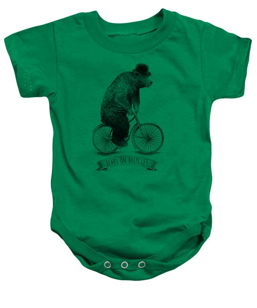 Bears On Bicycles - Lime Baby Onesie