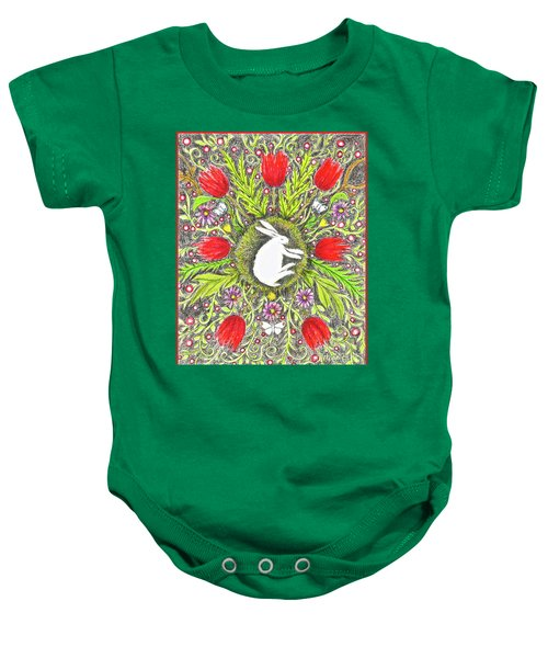 Bunny Nest With Red Flowers And White Butterflies Baby Onesie