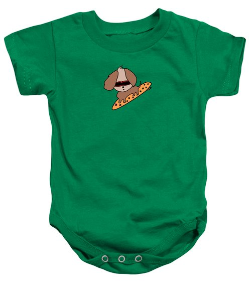 Cute Dog On Surfboard Baby Onesie