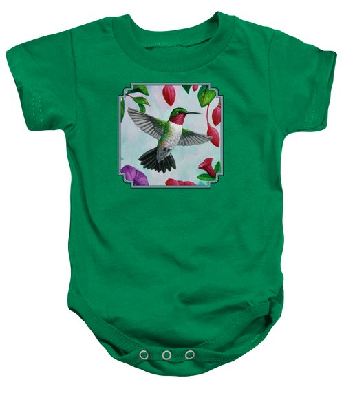 Hummingbird Flying In Spring Flower Garden 1 Baby Onesie