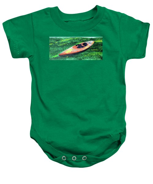 Kayak In The Grass Baby Onesie
