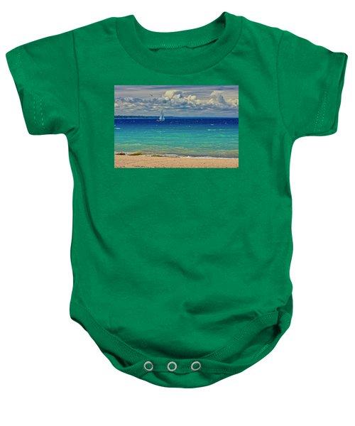 Lake Huron Sailboat Baby Onesie