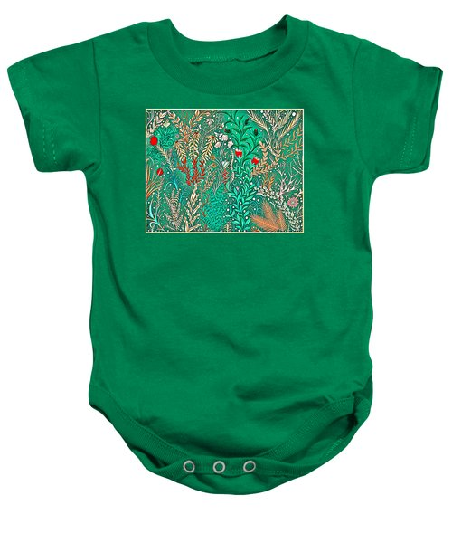 Millefleurs Home Decor Design In Brilliant Green And Light Oranges With Leaves And Flowers Baby Onesie