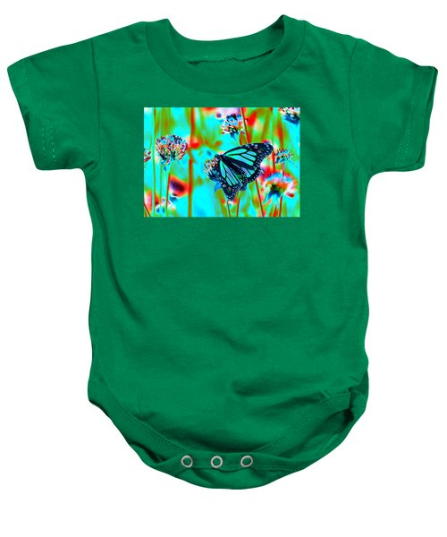 Teal Blue Monarch Butterfly Baby Onesie