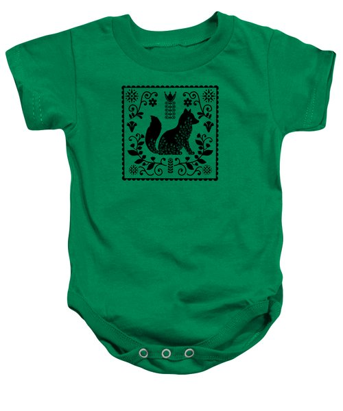 Woodland Folk Black And White Fox Tile Baby Onesie