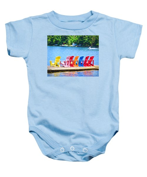 Colorful Chairs Baby Onesie