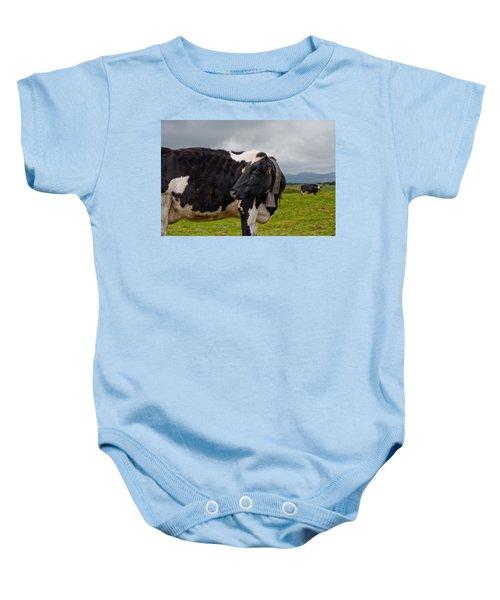 Cow Wearing Cowbell  Baby Onesie