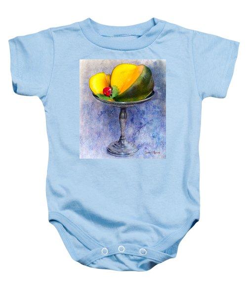 Cut Mango On Sterling Silver Dish Baby Onesie