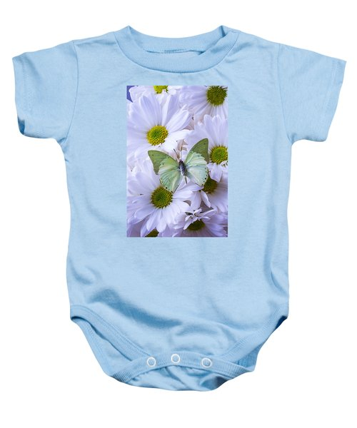 Green Butterfly  Baby Onesie