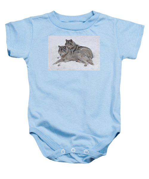 Timber Wolf Pair Baby Onesie