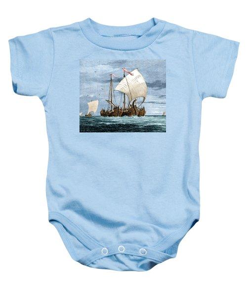 Vikings Cross The North Sea Baby Onesie
