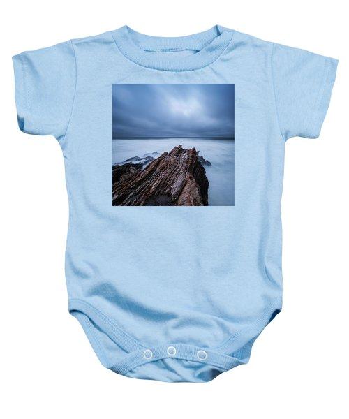 Waves Crash Over Tidal Rocks At Dusk Baby Onesie