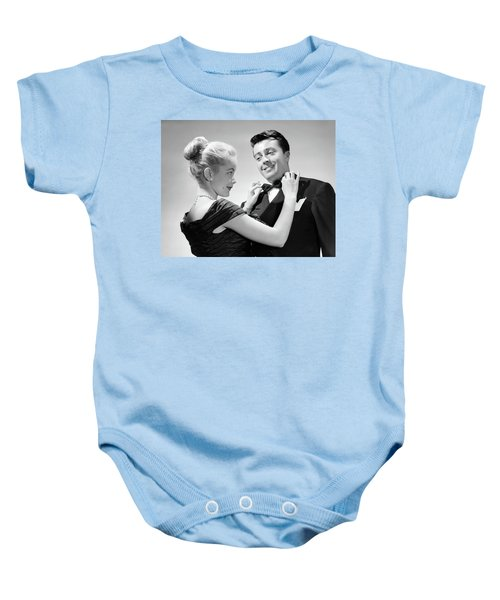 1950s Couple In Formal Attire Woman Baby Onesie