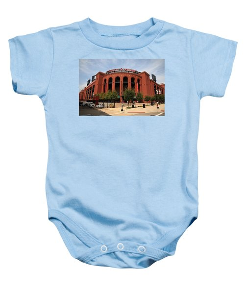 Baby Onesie featuring the photograph Busch Stadium - St. Louis Cardinals by Frank Romeo