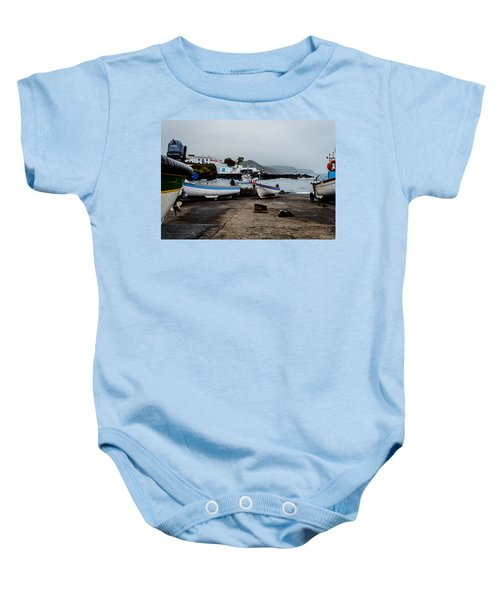 Fishing Boats On Wharf With View Of Houses  Baby Onesie
