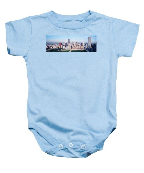Aerial View Of Buildings In A City Baby Onesie by Panoramic Images