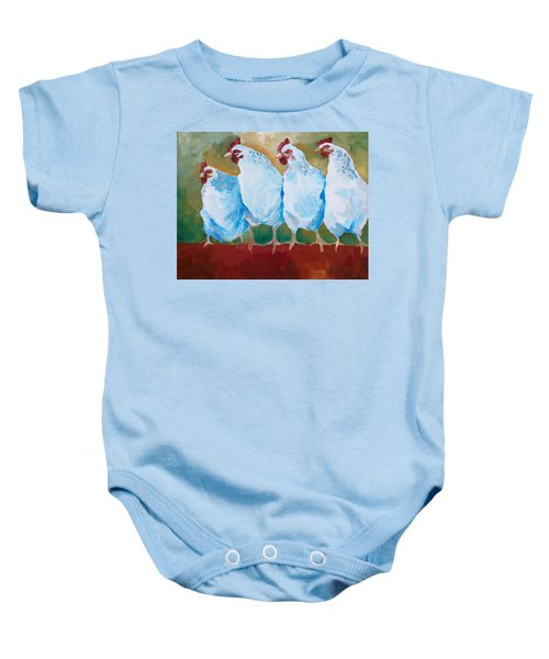 A Bunch Of Old Clucking Hens Baby Onesie