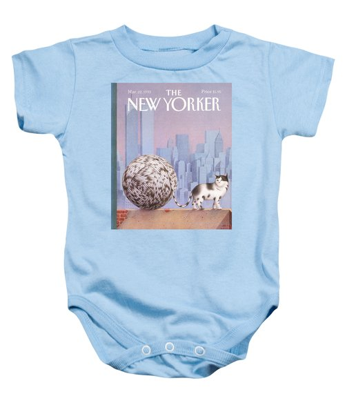 A Cat With A Ball Of String For A Tail Baby Onesie