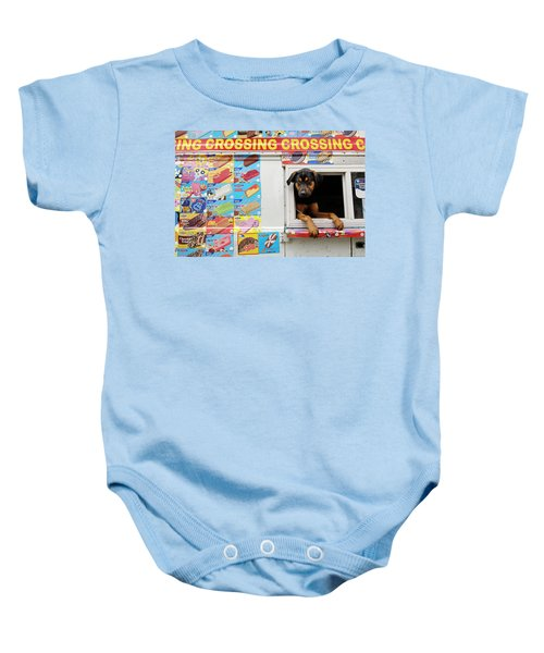 2000dd53f A Dog Hangs Out Of An Icecream Truck Baby Onesie