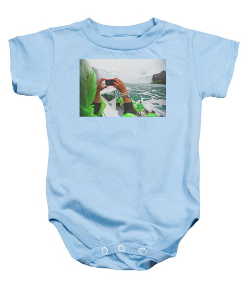 A Tourist Takes A Picture Of Niagara Baby Onesie