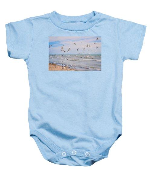 Along The Beach Baby Onesie