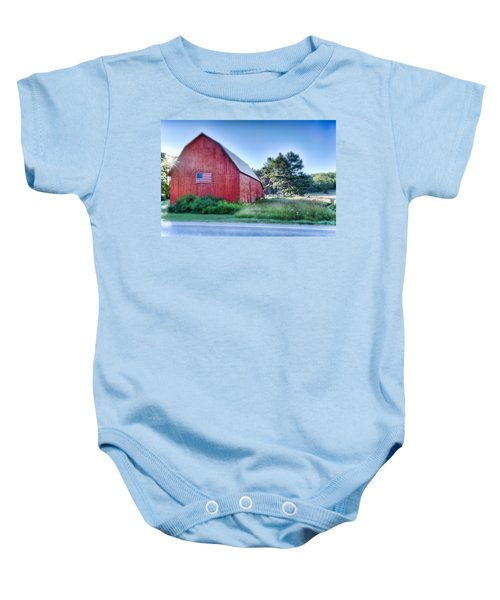 Baby Onesie featuring the photograph American Barn by Sebastian Musial