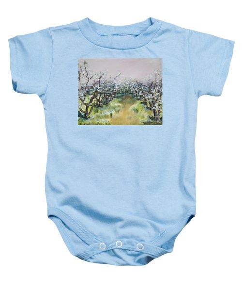 Apple Blossoms In Ellijay -apple Trees - Blooming Baby Onesie