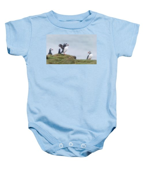 Atlantic Puffins Fratercula Arctica Baby Onesie by Panoramic Images