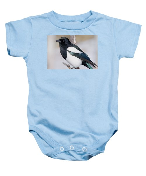 Black-billed Magpie Baby Onesie by Eric Glaser