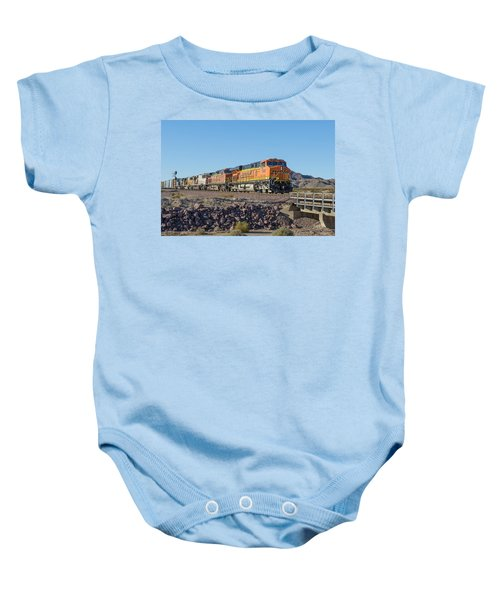 Baby Onesie featuring the photograph Bnsf 7649 by Jim Thompson