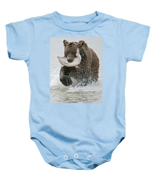 Brown Bear With Salmon Catch Baby Onesie