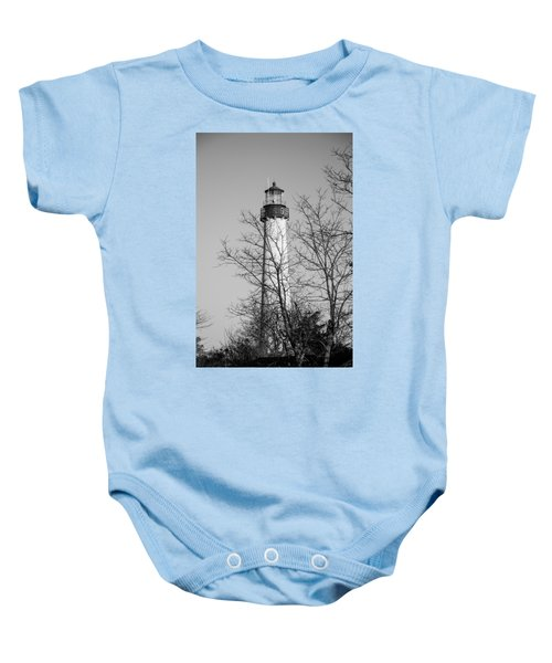 Baby Onesie featuring the photograph Cape May Light B/w by Jennifer Ancker