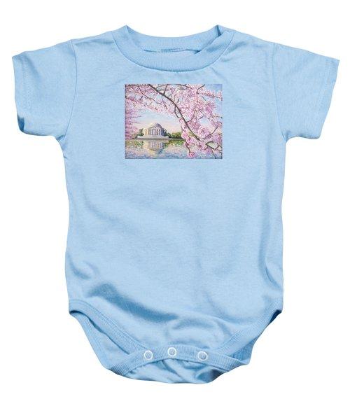Jefferson Memorial Cherry Blossoms Baby Onesie