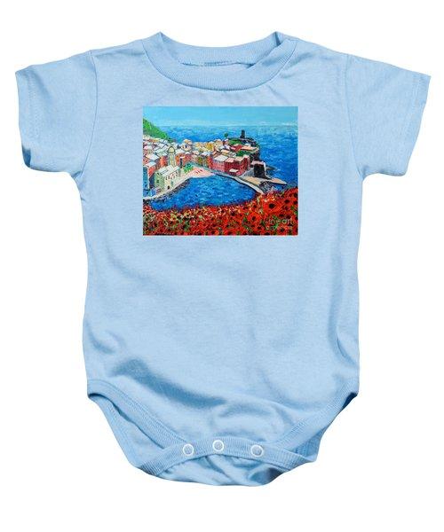 Cinque Terre Vernazza Poppies Baby Onesie