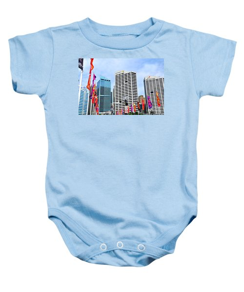 Colorful Flags Lead To City By Kaye Menner Baby Onesie by Kaye Menner