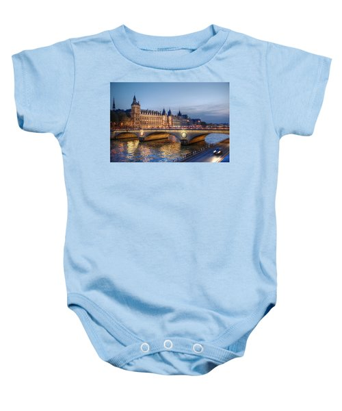 Baby Onesie featuring the photograph Conciergerie And Pont Napoleon At Twilight by Jennifer Ancker