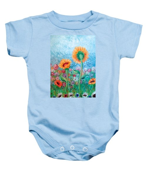Courting Sunflowers Baby Onesie