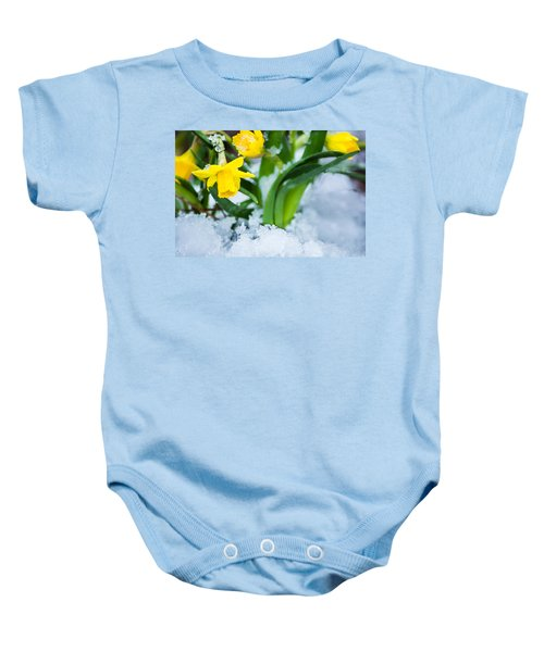 Daffodils In The Snow  Baby Onesie