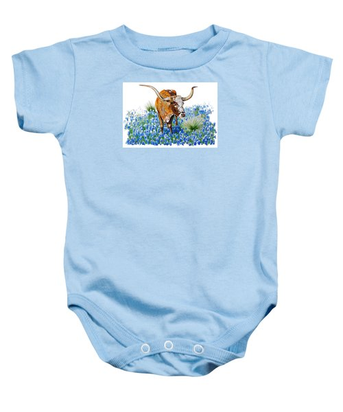 Da102 Longhorn And Bluebonnets Daniel Adams Baby Onesie