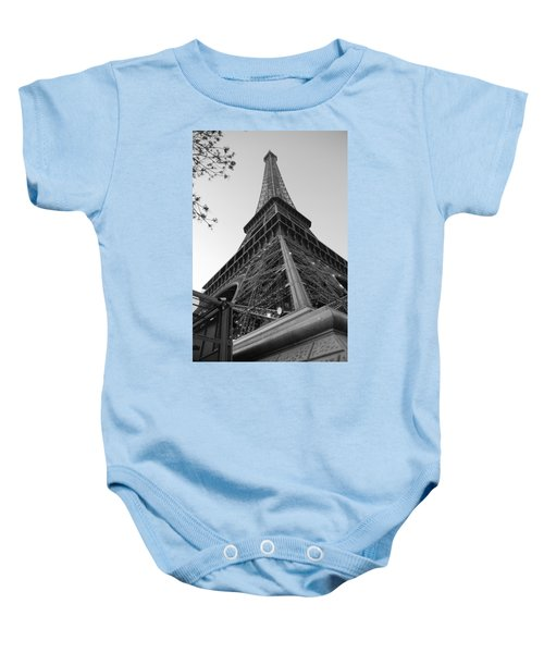 Baby Onesie featuring the photograph Eiffel Tower In Black And White by Jennifer Ancker
