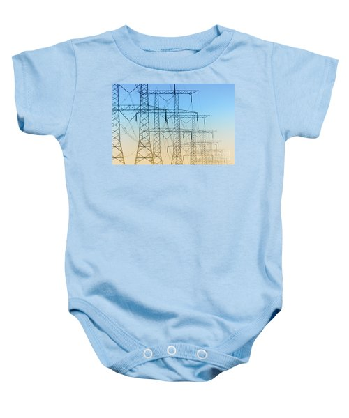 Electricity Pylons Standing In A Row Baby Onesie