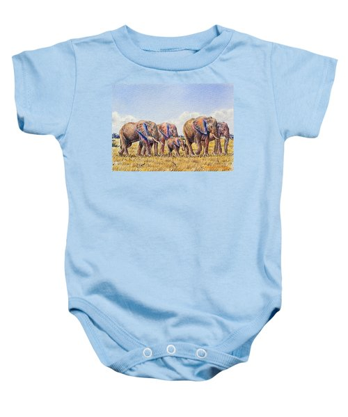 Elephants Walking Baby Onesie