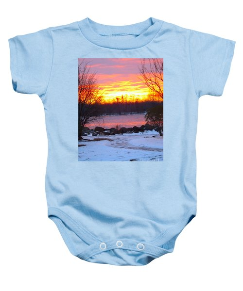 Fire And Ice Sunrise On The Delaware River Baby Onesie