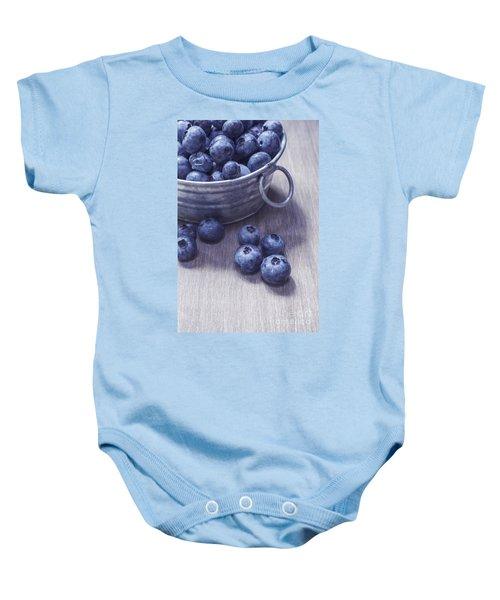 Fresh Picked Blueberries With Vintage Feel Baby Onesie
